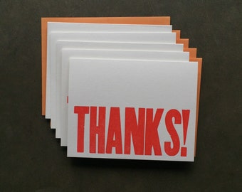 Cards- Letterpress, Thanks! Set of 5, Thank You