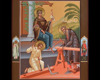 "Icon of the Holy Family. Icon Russian orthodox. Icon handpainted on wooden panel 15,7""х19.7""х1,4"""