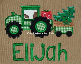 Personalized  Christmas Tractor  Longalls