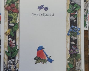 Vintage Antioch Book Plates - Pretty Birds and Flowers - Set of 3 Bookplates