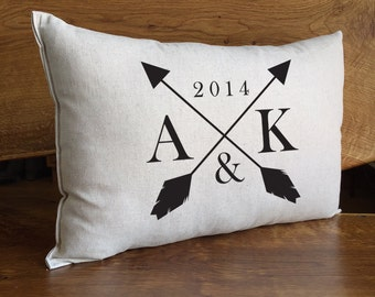 Wedding or Anniversary Pillow Personalized With Initials And Year, Cotton Linen Home Decor Pillow, Personalized Wedding Gift