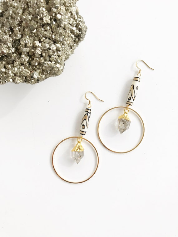 Paige Earrings // gold plated herkimer diamond quartz hand painted bone bead statement hoops