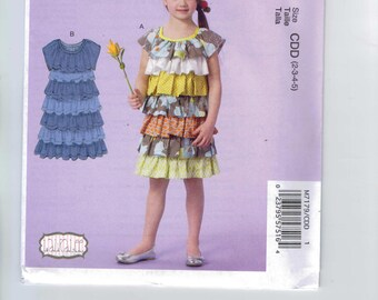 Girls Sewing Pattern McCalls M7179 7179 Girls Ruffled Boutique Tiered Dress Laura Lee Size 2 3 4 5  or 6 7 8 UNCUT  99