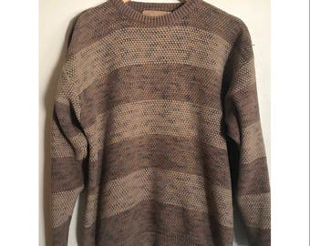 Vintage Men's Sweater Oversized Striped Sweater Hipster Grandpa Sweater Cosby Sweater SIZE MEDIUM