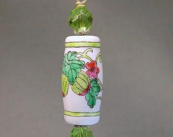 Vintage Chinese White Porcelain BARREL Bead Fan Light Pull Pink Flower ,Vintage Green Crystal Beads