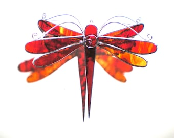 Fire Fly - Stained Glass Dragonfly Twirl - Medium Red Orange Suncatcher Home Garden Decor Hanging 3 Dimensional Yard Art (READY TO SHIP)