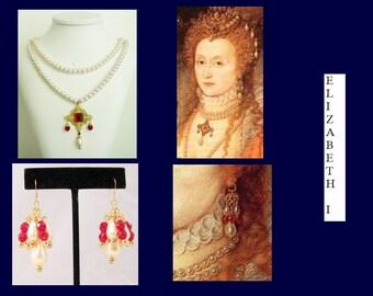 Renaissance Necklace AND Earrings, Medieval Necklace, Tudor Necklace, Elizabethan Necklace, Tudor Reproduction Necklace, Queen Eliz Replica