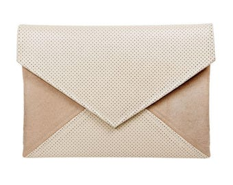 Clutch bag envelope beige perforated vegan leather bag faux leather suede purse handbag strap pocket zipped wedding bridesmaid evening gift