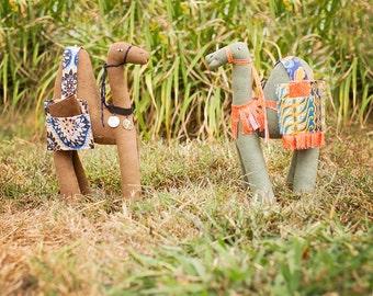 Large Exotic Stuffed Camel: Refugee Made