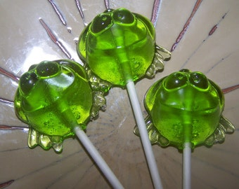 10 Hoppity Frogs Frog Lollipop Lollipops Sucker Party Favor Candy