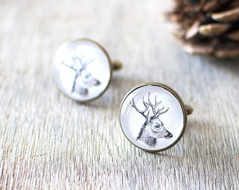 Deer Cufflinks. Vintage Woodland Cufflinks.  Mens Cufflinks. Woodland Wedding Cufflinks. Stag Cufflinks. Rustic Mens Accessory.