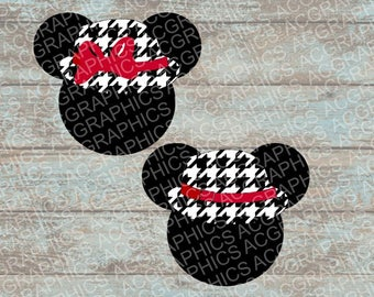 Houndstooth Mickey and Minnie Mouse Heads SVG, DXF, JPEG, and Studio Downloads