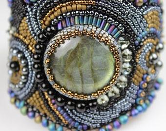 Labradorite Bead Embroidered Cuff Bracelet