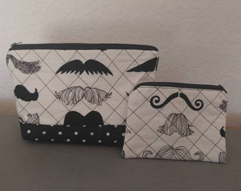 Mustache make-up bag and coin purse