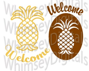 Welcome Pineapple Housewarming Digital Download SVG Cut File, Vinyl Cutting Design for Digital Cutting Machines, DIY Gift, MTC, Studio3