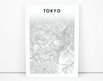 Downtown Tokyo Map Print, Japan Map Art Poster, 東京都 日本 City Street Road Map Print, Nursery Room Wall Office Decor, Printable Map
