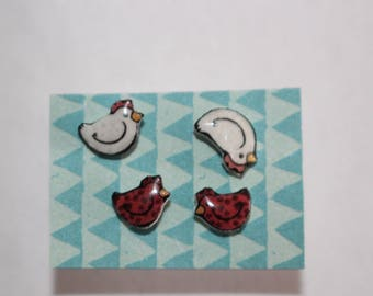 Chicken Earring Set Rhode Island Red and White chicken: Gift for Chicken lovers or chicken loss memorial Surgical Stainless Steel Posts