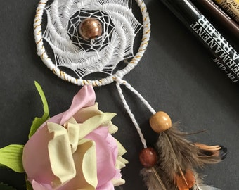 Small dream catcher, White and gold, feathered dream catcher, gold bead in the middle