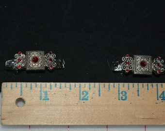 tiny hair clips sparkle shine jewelry findings red silver