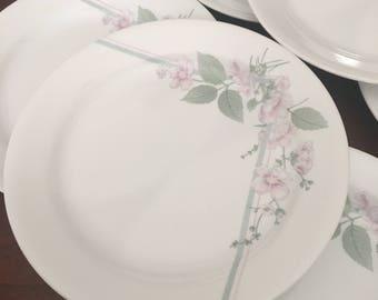 Corelle Veranda Set of 4 Salad Plates - Pink Flowers and Green Leaves