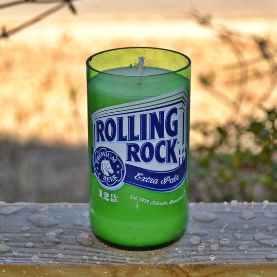 Rolling Rock Beer Bottle Candle made with soy wax