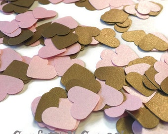 Pink and Gold, Shimmer heart confetti, antique gold heart confetti, wedding reception, baby girl shower, Princess birthday, satin hearts