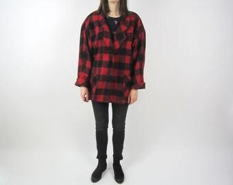 vintage 70s 80s red Tartan plaid check oversize Raglan blazer jacket S M