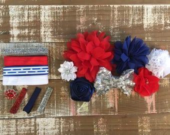 Patriotic headband kit - 4th of July headband - Independence Day headband - diy headband kit - baby headband - headband supplies