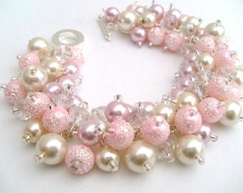 Bridal Jewelry, Wedding, Pearl Bridesmaid Bracelet, Baby Pink and Ivory Bracelet, Cluster Bracelet, Pearl Bracelet, Pearl and Crystal, Blush