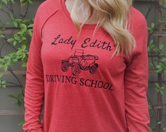 Downton Abbey Sweater, Embroidered Lady Edith Shirt, Downton Abbey Shirt, Downton Abbey Clothing, Lady Edith's Driving School