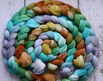 Rambouillet/ Silver Sparkle 'Ölüdeniz' 4 oz green spinning fiber, Created by Elsie B gray hand dyed wool roving, silver stellina combed top