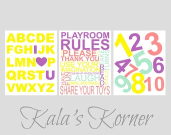 Playroom wall art - Playroom Decor - Childrens wall art - Playroom Rules - Playroom Print Set