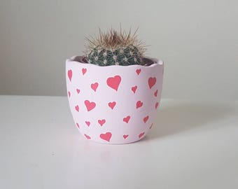 Valentine Heart Pot - Hand Painted Flower Pot - Egg Shell Pot 6cm