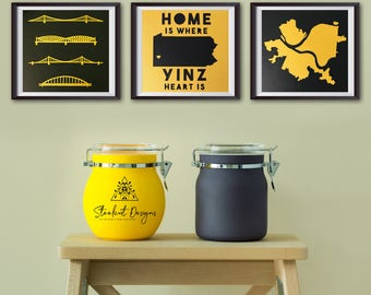 City of Pittsburgh, City of Bridges, Home Is Where Yinz Heart Is Original Papercuts Trio, Pittsburgh Art, Pittsburgh Decor, Pittsburgh Gift