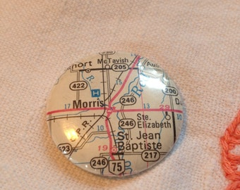Custom Pinback Button - Map of Manitoba Pick Your Small Town