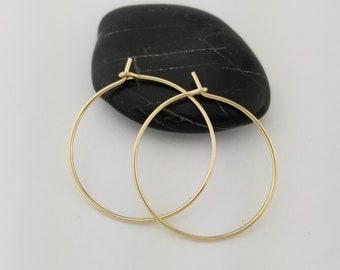 Solid 14k Gold Hoop Earrings, 20 Gauge, Thin Gold Hoops, Hammered Gold Hoops, Graduation Daughter, Mothers Day Gift Jewelry, Mom Gift