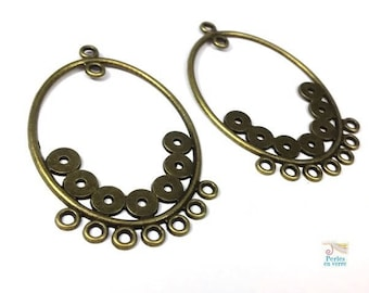 2 large chandelier earrings or necklace (co124) 35x55mm