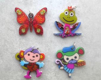 Set of 4 Butterfly pendant / mouse / monkey / frog acrylic printed on front & back