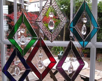Stained Glass Diamond Shaped Suncatcher With Hanging Crystals, Handmade in England