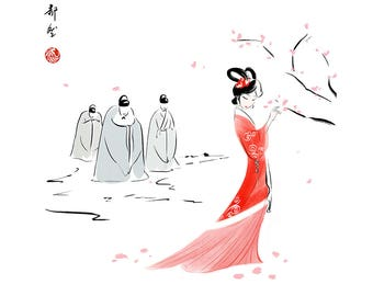 Chinese painting - red dress02