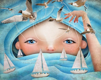 "Girl or Boy Ocean Waves Fine Art Print ""Swell"" Boats and Seagulls Fairy Tale Art Medium to large sizes - 8x10, 8.5x11, 11x17, 13x19"