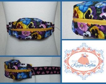 Pansies insulin pump belt with yellow zip and pink and black heart elastic.  Size 2.