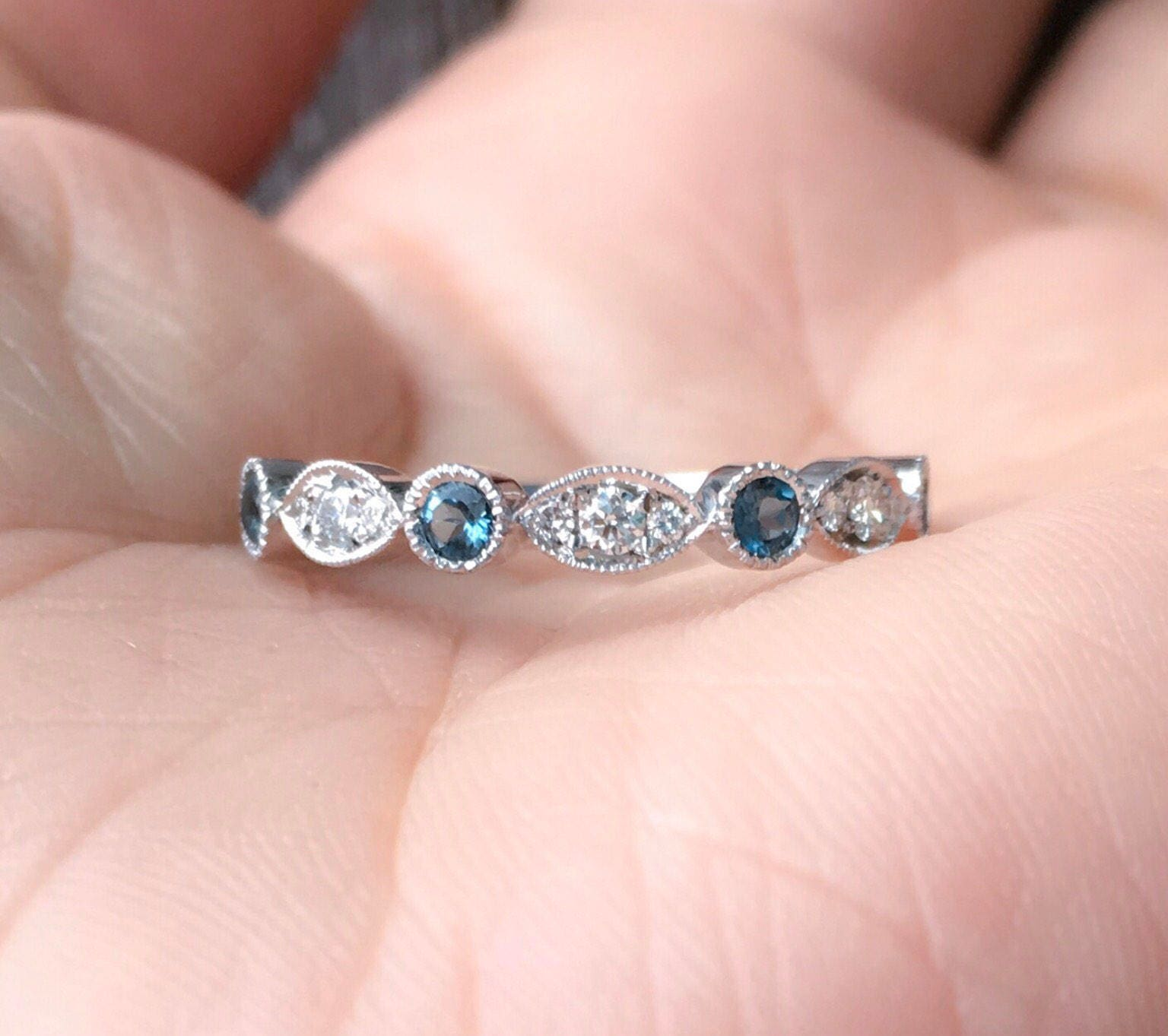 Marquise Dot Diamond Band 14K Diamond London Blue Topaz Milgrain ...