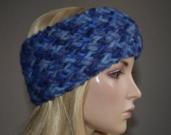 Knit Head Wrap Headband Ear Warmer Shades of Blue Winter