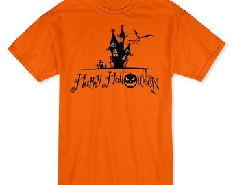 Happy Halloween Classic Haunted House Cartoon Men's Safety Orange T-shirt