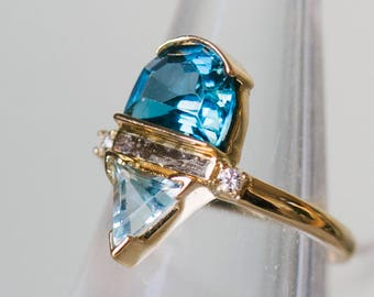 Blue Topaz, Aquamarine And Diamond Ring | Modern Ring | Asymmetrical Ring | Modern Engagement Ring