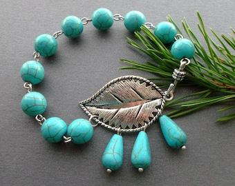 dainty bracelet turquoise leaf. blue bracelet leaf. Charm bracelet turquoise. gift for her. Christmas gift. birthday gift. gift for women.