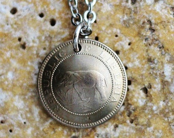 Liberia Elephant Domed Coin Necklace, 1947, Liberian Coin Pendant, one half cent, Elephant Animal Jewelry by Hendywood