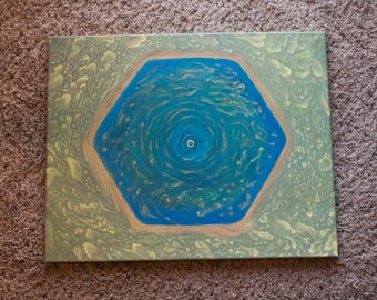 Saturn's Hexagon, 16 x 20 acrylic on canvas, original painting
