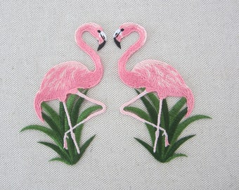 Pink Bird Patches, Embroidered Flower Appliques, Flamingo Patch Sew On